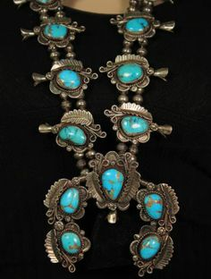 Large Old Pawn Vintage Navajo Sterling Bisbee Turquoise Squash Blossom Necklace   eBay