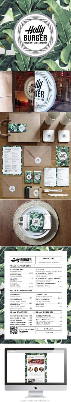 Branding and print elements for Holly Burger, the coolest burger restaurant in San Sebastian, Spain.The logotype was inspired from classical American shop windows typographies and the patterns from the wallpapers from Miami hotels. Corporate Design, Brand Identity Design, Graphic Design Branding, Typography Design, Identity Branding, Corporate Identity, Visual Identity, Web Design, Food Design
