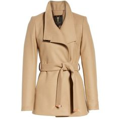 Women's Ted Baker London Wool Blend Short Wrap Coat (2 860 SEK) ❤ liked on Polyvore featuring outerwear, coats, beige wrap coat, wool blend coat, beige coat, short coat and wrap coats