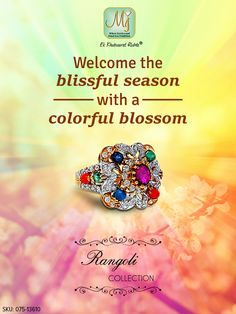 A gorgeous gemstone ring to celebrate the beautiful spring season. Check our #RangoliCollection here: http://www.malanijewelers.com/rangoli-collection.aspx #Ring #Spring