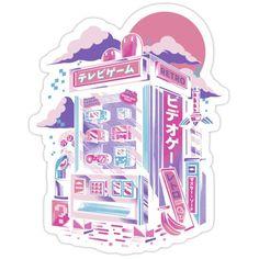 'Retro gaming machine' Sticker by Ilustrata Design Stickers Cool, Anime Stickers, Kawaii Stickers, Printable Stickers, Arte Do Kawaii, Kawaii Art, Cute Animal Drawings Kawaii, Cute Drawings, Korean Stickers