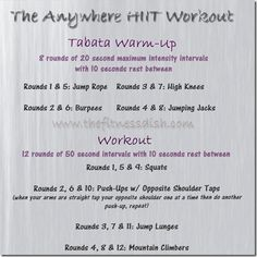 HIIT at home workout, great work out had me panting and sweating like crazy! (thats what she said)
