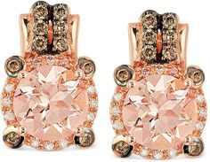 Le Vian Peach Morganite (1-3/4 ct. t.w.) and Diamond (1/4 ct. t.w.) Earrings in 14k Rose Gold