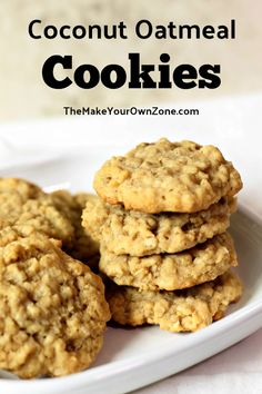 Coconut Oatmeal Cookies - A soft, chewy, and delicious cookie recipe made with the goodness of oats, brown sugar, and flaked - Oat Cookie Recipe, Oatmeal Coconut Cookies, Oatmeal Cookie Recipes, Delicious Cookie Recipes, Chocolate Chip Oatmeal, Easy Cookie Recipes, Sugar Cookies Recipe, Yummy Cookies, Shortbread Cookies