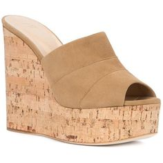 Giuseppe Zanotti Design cork wedge mules ($417) ❤ liked on Polyvore featuring shoes, peeptoe shoes, giuseppe zanotti, peep-toe mules, giuseppe zanotti shoes and platform shoes
