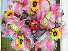 Ladybug Sunflower Deco Mesh Wreath by CharmedSouth on Etsy, $75.00