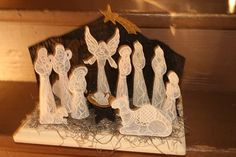 Free Standing Lace Nativity Set with Stable