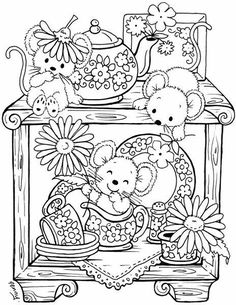 Stampavie Penny Johnson Clear Stamp - A Cupboard Full of Surprises Colouring Pics, Coloring Book Pages, Printable Coloring Pages, Free Coloring, Coloring Pages For Kids, Coloring Sheets, Kids Coloring, Colorful Drawings, Colorful Pictures
