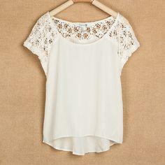 Lace Stitching Short Sleeve Chiffon Shirts (USD 24.99)