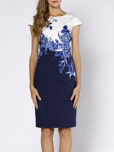 Shop Midi Dresses - Blue Short Sleeve Floral Paneled Crew Neck Midi Dress online. Discover unique designers fashion at StyleWe.com.