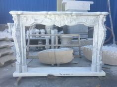 BEAUTIFUL CARVED ITALIAN CARRARA MARBLE FRENCH STYLE FIREPLACE MANTEL - FSM32 #Unbranded #FRENCH Marble Fireplace Mantel, Marble Fireplaces, Fireplace Mantels, Back To Home, Carrara Marble, French Style, Entryway Tables, Carving, Furniture