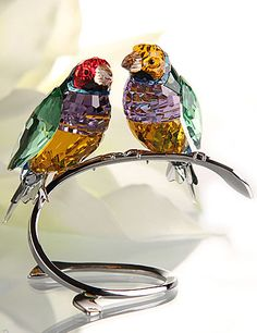 "Swarovski Gouldian Peridot Finches   $690.00 	9 5/6"" 		    Item# 1141675    This vibrant Gouldian Finch couple is beautifully executed in full colored crystal featuring natural color combinations, such as Blue Violet and Peridot."