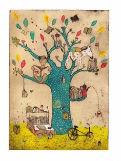 My reading tree (by Clothilde Stae) Art Fantaisiste, Reading Tree, Art Et Illustration, Pics Art, I Love Books, Whimsical Art, Illustrations Posters, Book Worms, Book Lovers