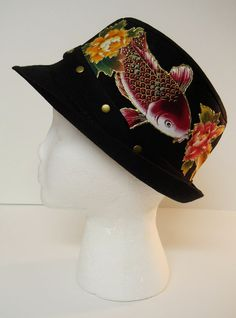 Custom Hat Asian Hand Painted Floral Fabric Applique by paulagsell, $36.00