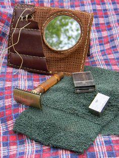 Custom leather Shaving Wallet with vintage gear by Trevor Moody of Dirigo Craft & Supply Co.