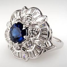 Vintage Sapphire & Diamond Cocktail Ring.  I'll take it!
