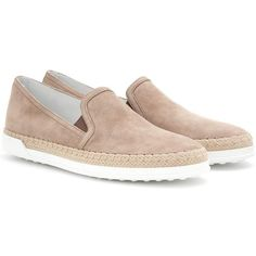Tod's Suede Slip-on Sneakers ($365) ❤ liked on Polyvore featuring shoes, sneakers, flats, beige, beige flat shoes, slip on flats, slip on shoes, beige shoes and beige flats