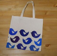 Hand Painted Blue Birds Shopping Bag by PaintbrushAndPen on Etsy