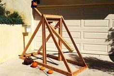 Make This Pumpkin Chunkin' Catapult Halloween Class Party, Halloween Carnival, Pumpkin Stem, Diy Pumpkin, Popsicle Stick Crafts, Craft Stick Crafts, Craft Sticks, Catapult Diy, Pumpkin Chunkin