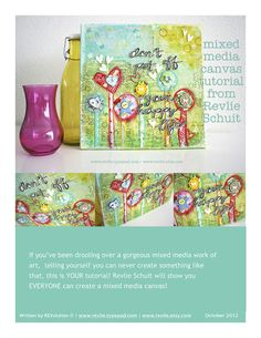 ON SALE How to create a lovely mixed media canvas pdf door Revlie