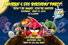Angry Birds Space Birthday Invitations Digital Image File. $7.00, via Etsy.
