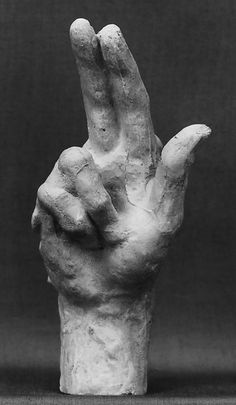 Study of a hand Artist: Auguste Rodin (French, Paris 1840–1917 Meudon) Date: modeled possibly ca. 1885, cast before 1912 Culture: French Medium: Cast plaster Dimensions: L. 4-3/8 in. (11.1 cm.) Classification: Sculpture Credit Line: Gift of the sculptor, 1912