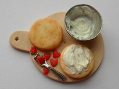 Miniature food, strawberry sponge cake with buttercream, afternoon tea cake, preparation board, kitchen preparation in one inch scale by MagentaMinis on Etsy