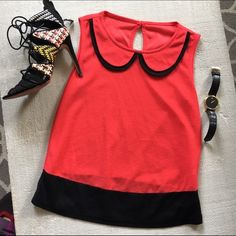 Great office work sleeveless tank top small Purchased in UK, size 34- uk6- us small . Red and black . Work few times in great condition Athmosphere  Tops Tank Tops