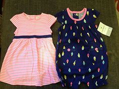Carters 2 Piece Dress and Print Romper Baby  NavyPink6 Months ** Click image to review more details.