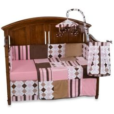 Prep School Pink 4-Piece Crib Bedding Set, 100% Cotton - BedBathandBeyond.com