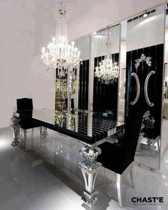 Black and Silver Dining Table Luxury >< <> <> Buffet laid-out . . .enjoy the game !
