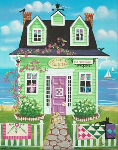 Cozy Cottage Quilt Shop Folk Art Print by KimsCottageArt on Etsy