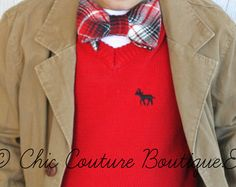 Holiday Red Bow Tie T-shirt / Tee. Christmas Baby Boy, Toddler, Youth. Red Black Plaid, Ring Bearer Winter Wedding, Birthday Tee