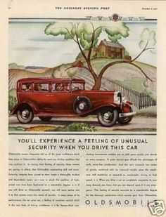 """Oldsmobile Car Color Ad """"You'll Experience... (1932)"""