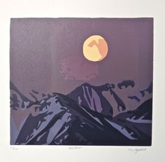 Original Mountain Range Linocut Print with by printworthy on Etsy, $160.00