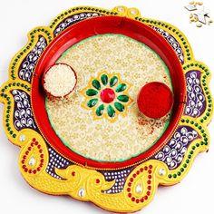Yellow Peacock Pooja Thali with 1000 gms Kaju katli - Online Shopping for Diwali Pooja Accessories by Ghasitaram Gifts