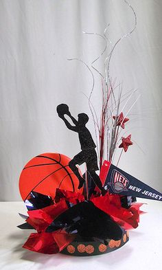 Basketball Sports Pro DIY Centerpiece Kit. Order in your color choices with an NBA team pennant then save money when you assemble your own table decorations. Great for Bar Mitzvah, School Banquet & Sports Theme Party. http://www.awesomeevent.com/unique-centerpieces/basketball.aspx