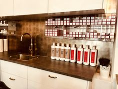 Today we present to you our product that was used by WANDWERK GmbH showcasing their versatility and their ability to gel in with any design scheme, The concept, implemented with DM LUXURY Bronze, gives the walls of hairdressing salon an absolutely exquisite look. Together we guarantee to find the perfect style for your next project. Sibu, Design Products, Liquor Cabinet, Kitchen Cabinets, Walls, Bronze, Concept, Luxury, Storage