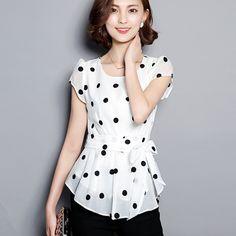 Mulheres camisa Bolinhas Chiffon Blusa 2017 Verão Tops Camisas Partes Superiores das mulheres do Sexo Feminino Beading Manga Chiffon Casual Feminino Blusas