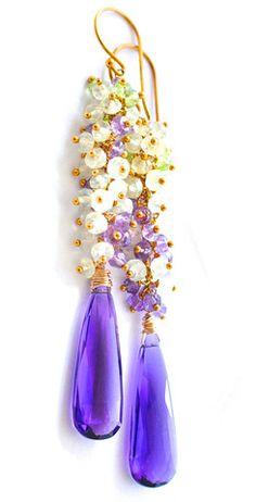 Разноцветные Фиолетовый Аметист Серьги: Нью-Йорк дизайнер ювелирных изделий