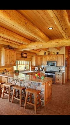 Log Cabins Give A Rustic Feel To The Home, But Choosing Kitchen Cabinets  For Them Can Be Tricky    So Much Wood Is Already In The House.
