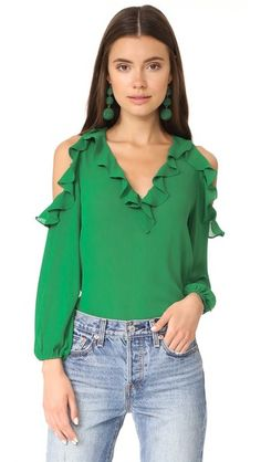 Alice And Olivia Alice + Olivia Gia Ruffle Cold Shoulder Blouse In Ivy Green Long Sleeve Shirt, Frill Blouse, Cold Shoulder Shirt, Top Wedding Dresses, Pleated Fabric, Ruffle Shirt, Long Blouse, Girl Fashion, Womens Fashion