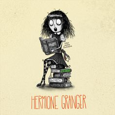 Tim Burton style Harry Potter characters: Hermione Granger