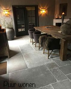 Luxury furs on back of chairs Viking style Kath Rin Luxury Kitchens chairs fürs Kath Luxury Rin Style Viking Stone Flooring, Concrete Floors, Luxury Pools, Bathroom Design Luxury, Rustic Style, Vikings, Sweet Home, Interior Design, Decoration