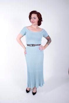 1940s Vintage Dress...Pastel Blue Rayon Blend Knit Late 40s Knit Sweater Dress by Lass O Scotland Size Small