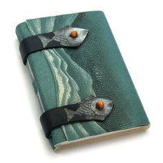 Awesome fish and waves handmade leather-bound book