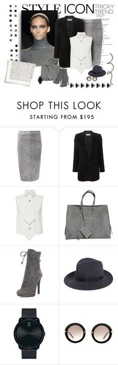 """Gray Lady Suede Dots"" by michelletheaflack ❤ liked on Polyvore featuring moda, Brunello Cucinelli, Yves Saint Laurent, J.W. Anderson, Balenciaga, PAM, Prada, rag & bone, Movado e Miu Miu"