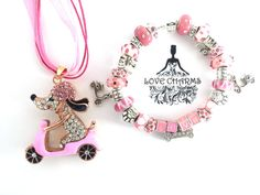 A Betsey Johnson Dog on Scooter Pendant with Pandora Style European Charm Bracelet by LoveCharmsUSA
