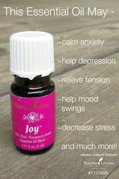 Young Living's Joy Essential Oil from ask me how to get off this item. Joy Essential Oil, Essential Oils Guide, Natural Essential Oils, Essential Oil Blends, Young Living Oils, Young Living Essential Oils, Healing Oils, Yl Oils, Essential Oils