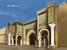 Regularly named as one of the world's most impressive doors, Bab Mansour in Meknes, Morocco is truly a sight to behold. It makes an intro into the ancient! Islamic Architecture, Architecture Design, Monuments, Visit Morocco, Moroccan Design, Stage Design, Marrakech, Taj Mahal, Muharram